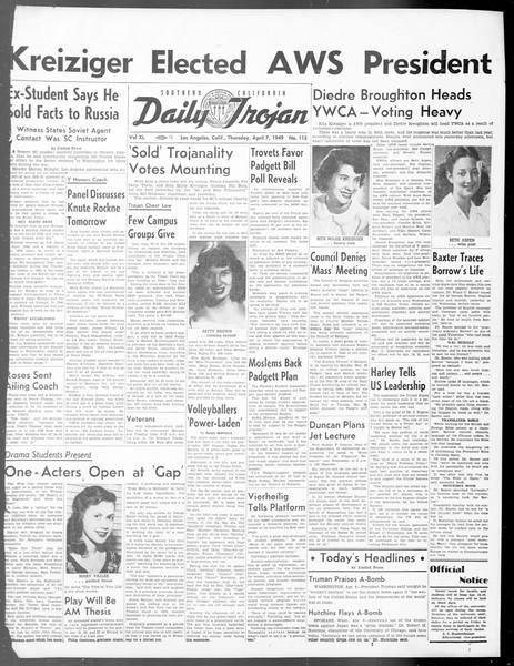 Daily Trojan, Vol. 40, No. 115, April 07, 1949