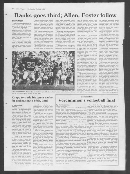 Daily Trojan, Vol. 91, No. 68, April 28, 1982