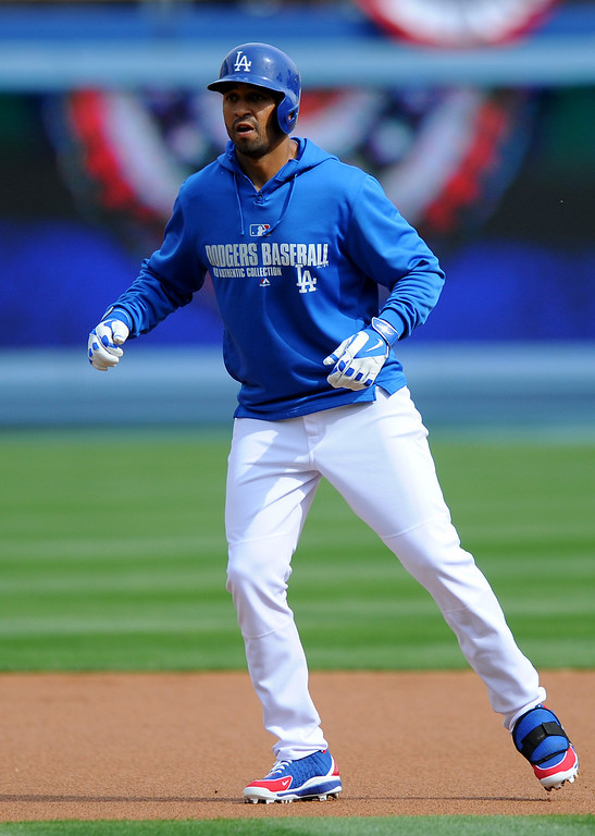 . Dodgers Matt Kemp runs the bases during batting practice at opening day, Friday, April 4, 2014, at Dodger Stadium. (Photo by Michael Owen Baker/L.A. Daily News)