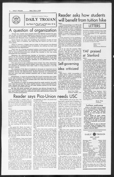 Daily Trojan, Vol. 61, No. 67, February 04, 1970