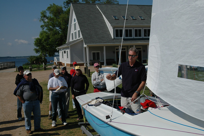 Greg Fisher in front of Fishing Bay Yacht Club
