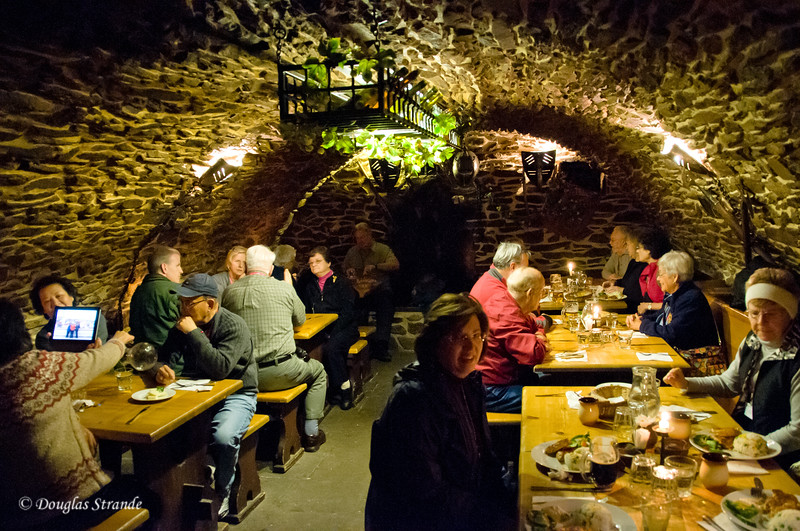 Our Grand Circle group lunching in Cesky Krumlov