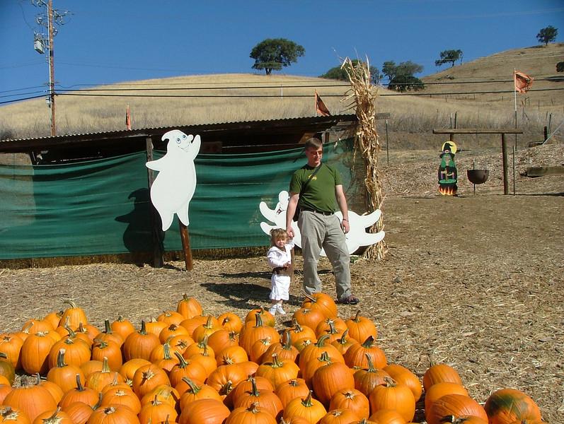 Sam, Dad, ghosts, pumpkins