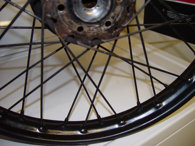 Rear wheel spokes closeup