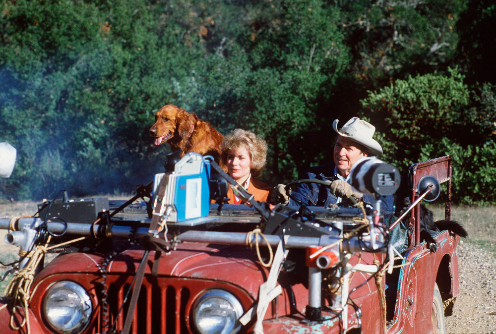 . Barbara Walters rides with President Ronald Reagan in a jeep rigged with TV equipment on Reagan\'s Santa Barbara, Calif., ranch during a November 1981 interview.  (AP Photo/ABC PHOTO ARCHIVES)