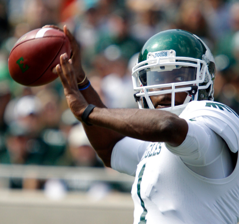 . Eastern Michigan quarterback Rob Bolden throws a pass during the second quarter of an NCAA college football game against Michigan State, Saturday, Sept. 20, 2014, in East Lansing, Mich. Michigan State won 73-14. (AP Photo/Al Goldis)