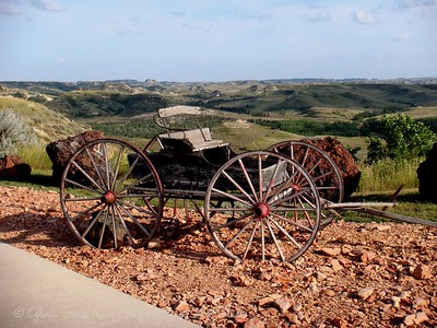 Wagon on the Bluff over the canyons at Medora