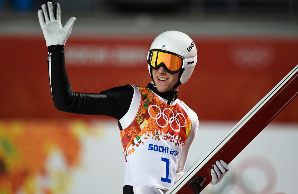 . SOCHI, RUSSIA - FEBRUARY 14: Nicholas Alexander of the United States reacts during the Men\'s Large Hill Individual Qualification on day 7 of the Sochi 2014 Winter Olympics at the RusSki Gorki Ski Jumping Center on February 14, 2014 in Sochi, Russia.  (Photo by Lars Baron/Getty Images)
