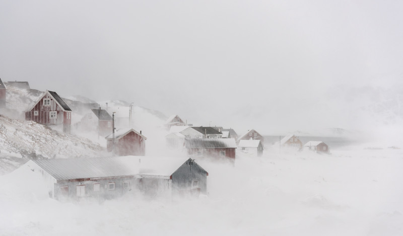Kulusuk in a 140kmph storm, East Greenland