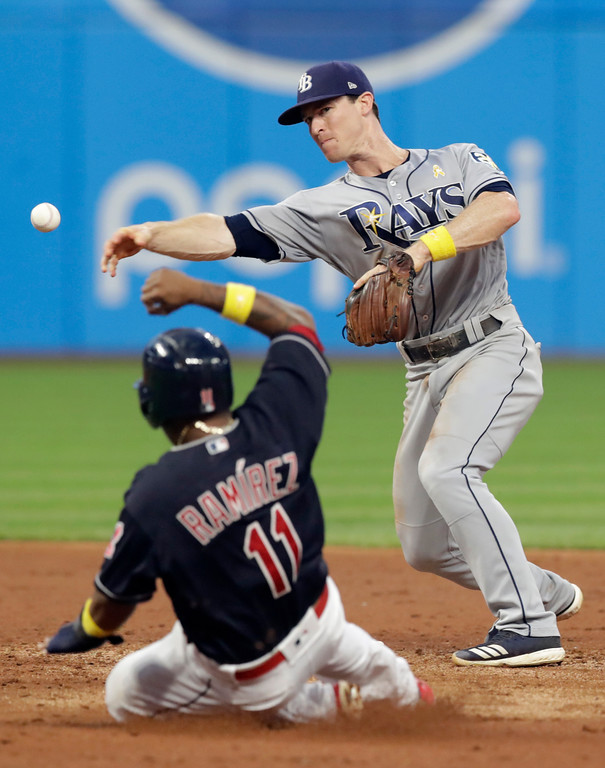 . Tampa Bay Rays\' Joey Wendle, right, throws to first base after getting Cleveland Indians\' Jose Ramirez out at second base in the third inning of a baseball game, Saturday, Sept. 1, 2018, in Cleveland. Edwin Encarnacion was out at first base for the double play. (AP Photo/Tony Dejak)