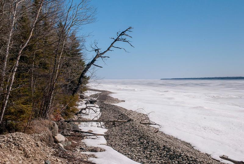 Frozen lake shoreline in winter, Lake Winnipeg, Hecla Grindstone Provincial Park, Manitoba, Canada