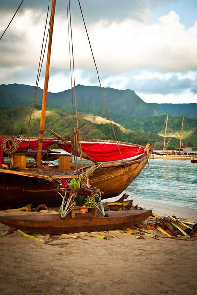Voyaging Canoes on Hanalei Bay