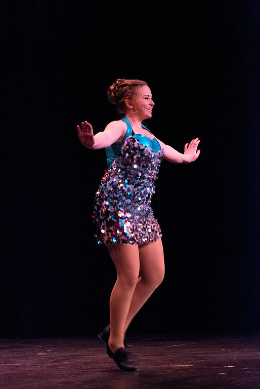 . Kayla Rice/Reformer Katie Burroughs tap dances for the talent portion of the 2014 Brattleboro Winter Carnival\'s Queen\'s Pageant on Friday night.