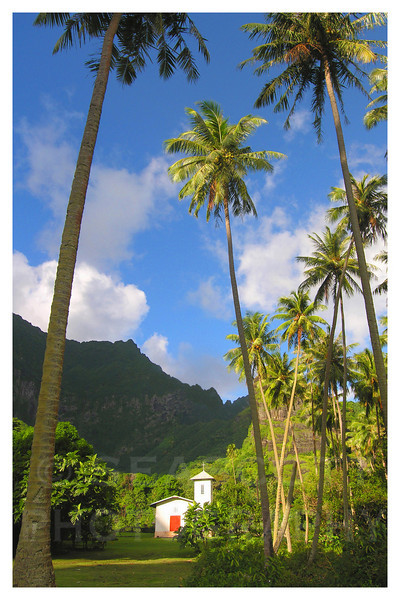 A small Catholic church on the remote Pacific island of Fatu Hiva, Marquesas Islands, French Polynesia.