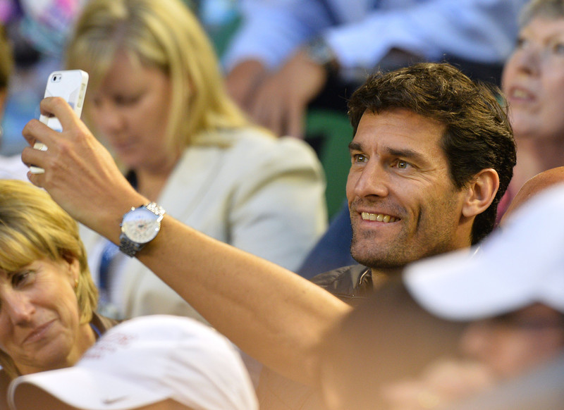 . Australia\'s Mark Webber attends the women\'s singles final between Slovakia\'s Dominika Cibulkova and China\'s Li Na on day 13 of the 2014 Australian Open tennis tournament in Melbourne on January 25, 2014. AFP PHOTO / SAEED KHAN -- IMAGE RESTRICTED TO EDITORIAL USE - STRICTLY NO COMMERCIAL USESAEED KHAN/AFP/Getty Images