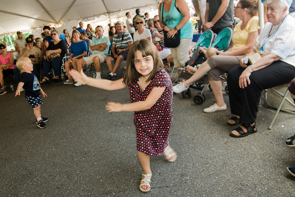. Adrianna Benson, 6, dances along to traditional Greek songs during the annual Greek Festival at Holy Trinity Greek Orthodox Church in Fitchburg on Saturday, September 16, 2017. SENTINEL & ENTERPRISE / Ashley Green