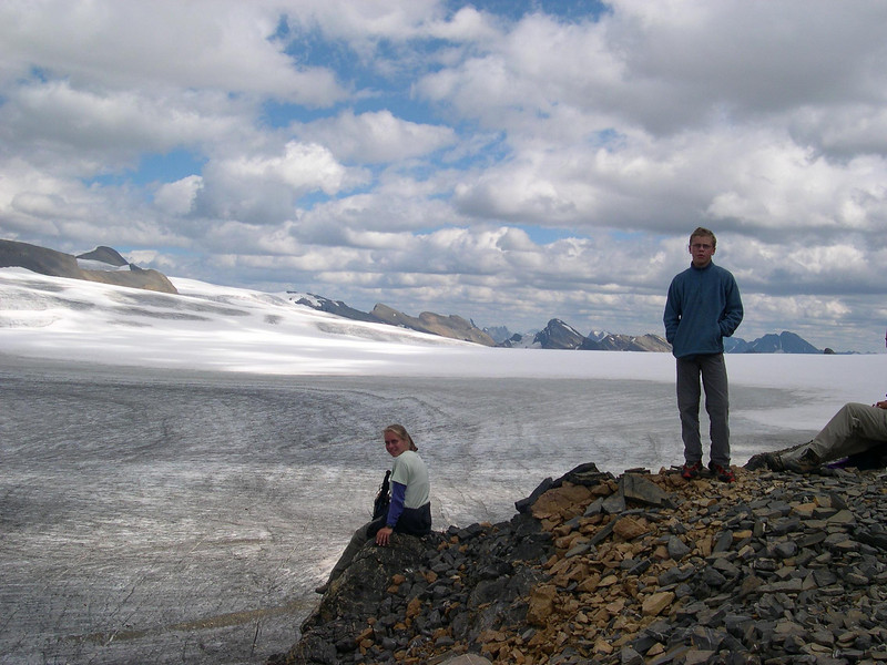 Snowbird Pass: Kjirsten, Tyler, and HHH's feet enjoy the view of the icefield.