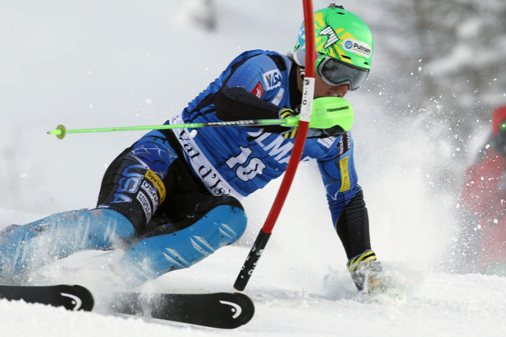 Description of . Ted Ligety of the U.S. competes during the Audi FIS Alpine Ski World Cup Men's Slalom December 08, 2012 in Val d'Isere, France. (Photo by Christophe Pallot/Agence Zoom/Getty Images)