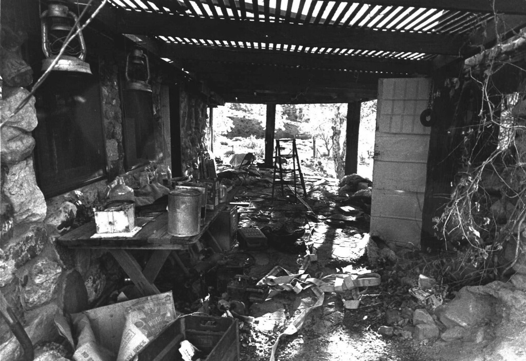 ". Trash litters the breezeway at Barker Ranch House, refuge of Charles Manson and his so-called ""family,\"" Dec. 5, 1969. (AP photo)"