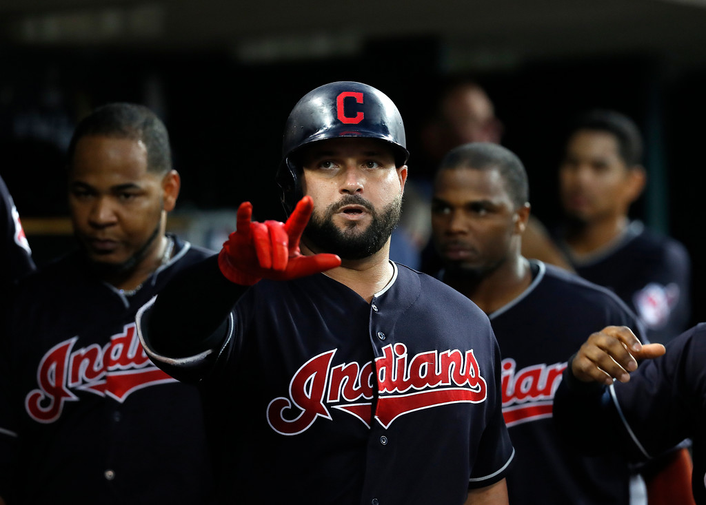 . Cleveland Indians\' Yonder Alonso celebrates his solo home run against the Detroit Tigers in the sixth inning of a baseball game in Detroit, Friday, July 27, 2018. (AP Photo/Paul Sancya)