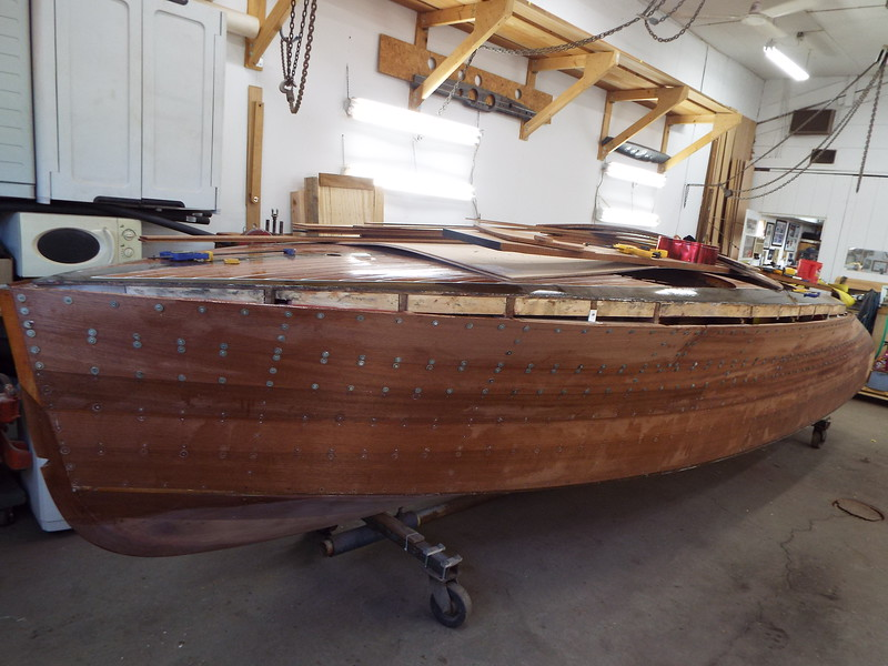 Front view of all the new port side planks installed.