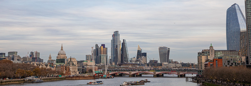 A view of Blackfriars Bridge and the city skyline from Waterloo Bridge.