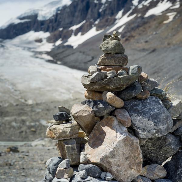Heap of stones, Columbia Icefields, Icefields Parkway, Jasper, Alberta, Canada