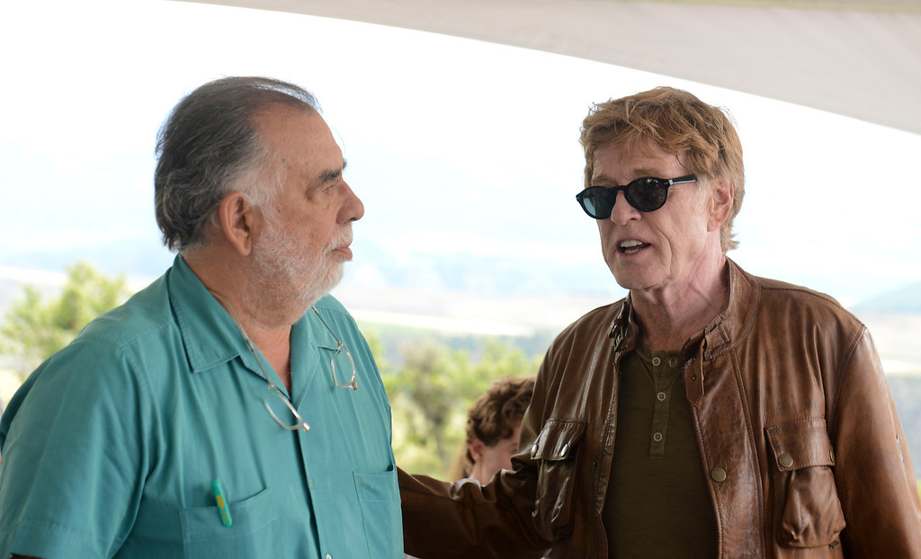". Francis Ford Coppola, left, and Robert Redford, Telluride tribute honoree and star of ""All Is Lost.\"" Photo Vivien Killilea, Providec by Telluride Film Festival"