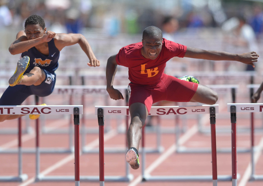 . LB Wilson\'s Bayron Manuel wins the 110 meter Division 1 high hurdles race of the CIF Southern Section Track and Field Championships Saturday at Mt. SAC. He would later win the 300 hurdles race as well. 20130518 Photo by Steve McCrank / Staff Photographer