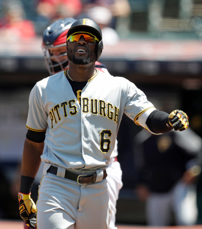 . Pittsburgh Pirates\' Starling Marte reacts after getting hit by a pitch in the left hand in the first inning of a baseball game against the Cleveland Indians, Wednesday, July 25, 2018, in Cleveland. Marte was pulled from the game after the first inning. The Indians won 4-0. (AP Photo/Tony Dejak)