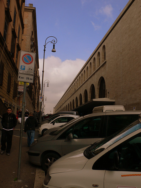 On the Via Giovanni Giolitti, next to the impressive facade of Rome Termini Railway station.