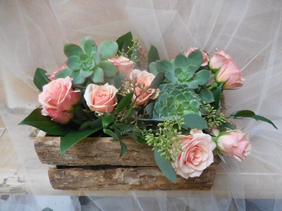 Wooden box arrangement $85