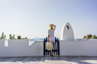 Woman on holidays in Santorini