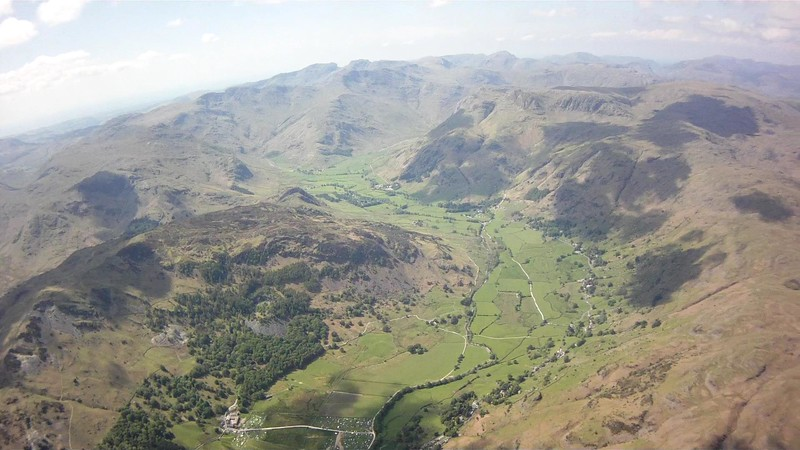 Stunning view up the Langdale valley towards the scafell.