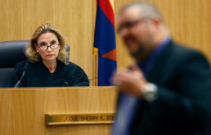 . Judge Sherry Stephens listens to defense attorney Kirk Nurmi during closing arguments during Jodi Arias\' murder trial on Friday, May 3, 2013 at Maricopa County Superior Court in Phoenix.  Arias is charged with first-degree murder in the stabbing and shooting death of Travis Alexander, 30, in his suburban Phoenix home in June 2008. (AP Photo/The Arizona Republic, Rob Schumacher, Pool)