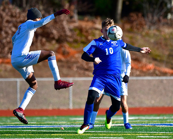 11/13/2019 Mike Orazzi | Staff Bristol Eastern's Jacob Woznicki (10) during the Class L Second Round boys soccer tournament with Bunnell High School in Bristol on Wednesday.
