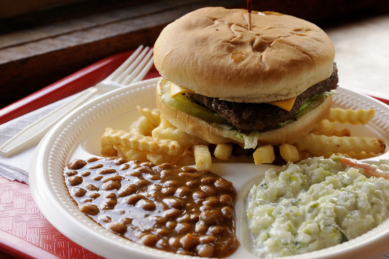 The Cheeseburger Platter, loaded down with a delicious burger, beans, cole slaw, and fries, at the Sandwich House in Greeneville, TN on Friday, June 6, 2014. Copyright 2014 Jason Barnette
