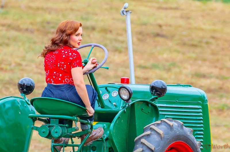 Strasburg RR - 611 382 Sunset Lerro Photo 5DsR Shoot - 50s Era Redhead Model Look Over Shoulder on Vintage Oliver Tractor Tight Crop-7378.jpg