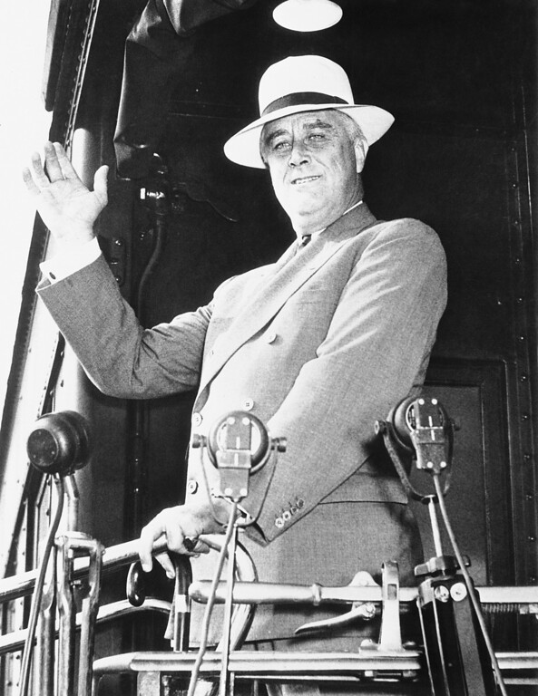 . 1934: Franklin D. Roosevelt. President Franklin D. Roosevelt is shown as he arrived in Washington, Sept. 26, 1934 from a stay in Hyde Park, N.Y. He faces many problems, including that of finding a successor to Hugh S. Johnson whose resignation as NRA administrator was accepted the night before the executive reached Washington. (AP Photo)