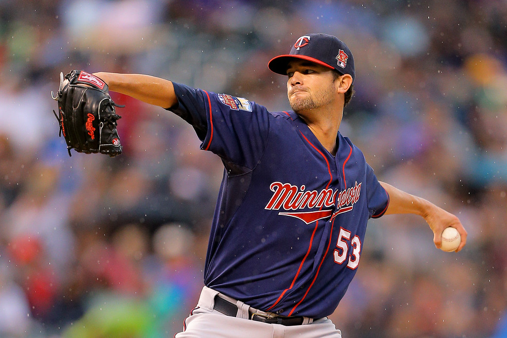 . DENVER, CO - JULY 11: Starting pitcher Kris Johnson #53 of the Minnesota Twins delivers to home plate during the third inning against the Colorado Rockies at Coors Field on July 11, 2014 in Denver, Colorado. (Photo by Justin Edmonds/Getty Images)