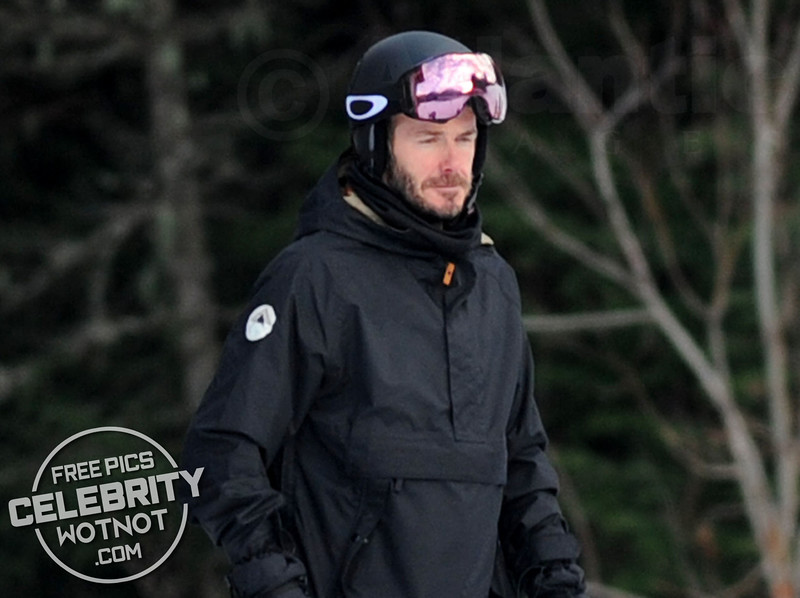 David Beckham Wears Oakley Goggles Snowboarding in Whistler, Canada
