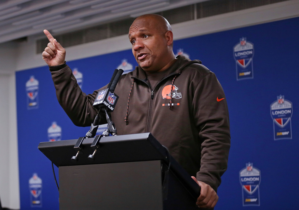 . Cleveland Browns head coach Hue Jackson gestures during a press conference after an NFL football game against Minnesota Vikings at Twickenham Stadium in London, Sunday Oct. 29, 2017. Minnesota Vikings won the match 33-16. (AP Photo/Tim Ireland)