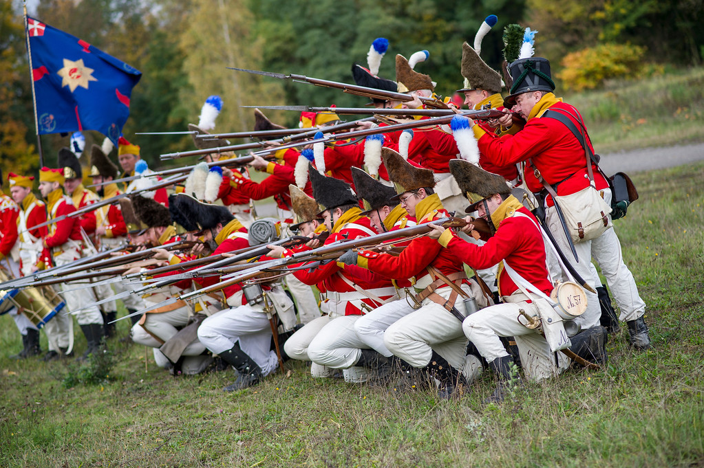 . Historical society enthusiasts from Norway in the role of Saxon grenadiers prepare to commemorate the 200th anniversary of The Battle of Nations on October 18, 2013 in Leipzig, Germany. T(Photo by Jens Schlueter/Getty Images)