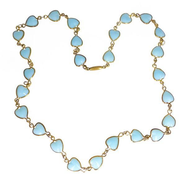 Vintage Art Deco Czech Blue Glass Heart Chain Necklace