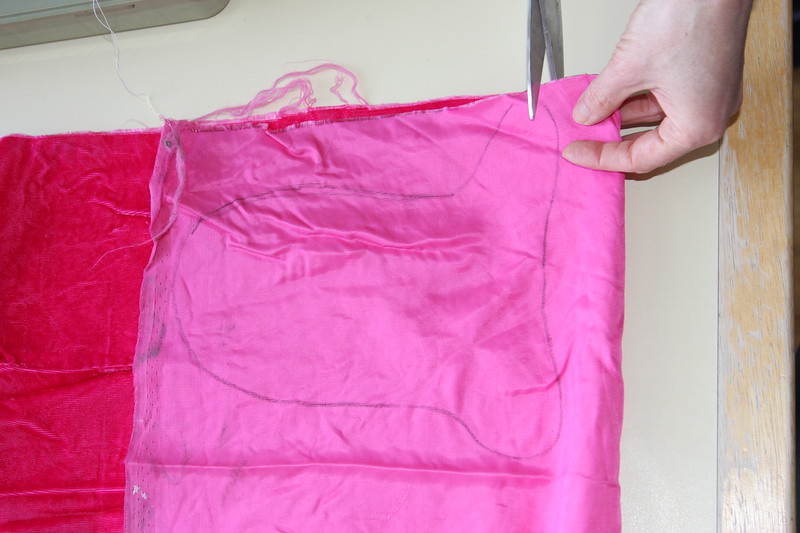 "Cut out the pattern, leaving a ""seam allowance"" (space outside the pattern)"