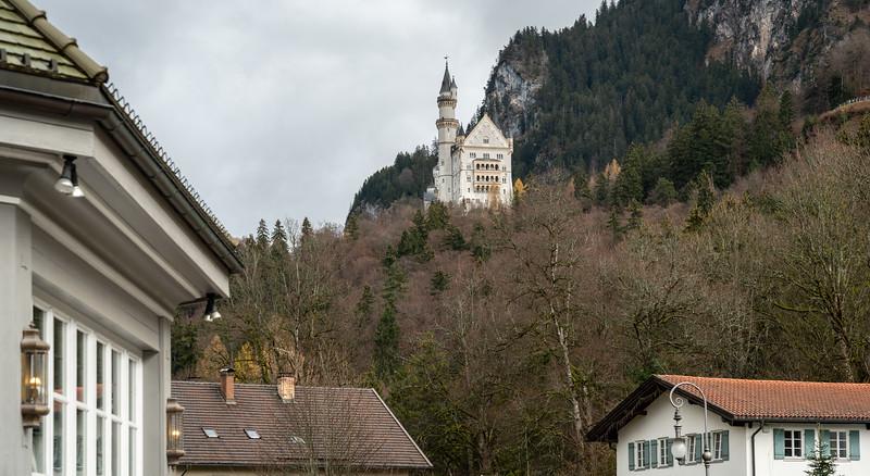 Neuschwanstein Castle overlooks the tourist center