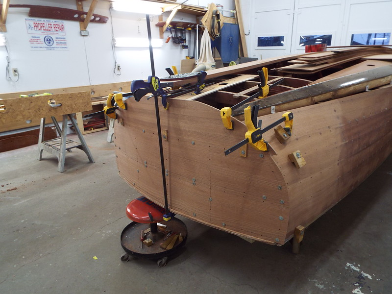 Rear starboard view of the new transom planks fit.