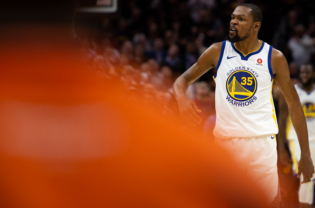 . Kevin Durant of the Golden State Warriors celebrates during game 3 of the NBA Finals in Cleveland on June 6, 2018.  Michael Johnson/ The News Herald