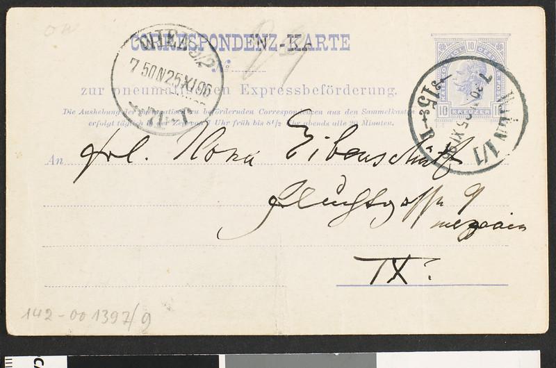 Johannes Brahms, postcard, 1896 Nov. 25?, to Mona Eibenschrift?, Vienna, Austria