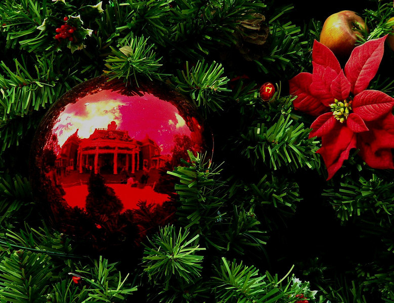 A reflection of the American Pavilion at Epcot Center, Florida as seen in a christmas ball on December 31, 2005.